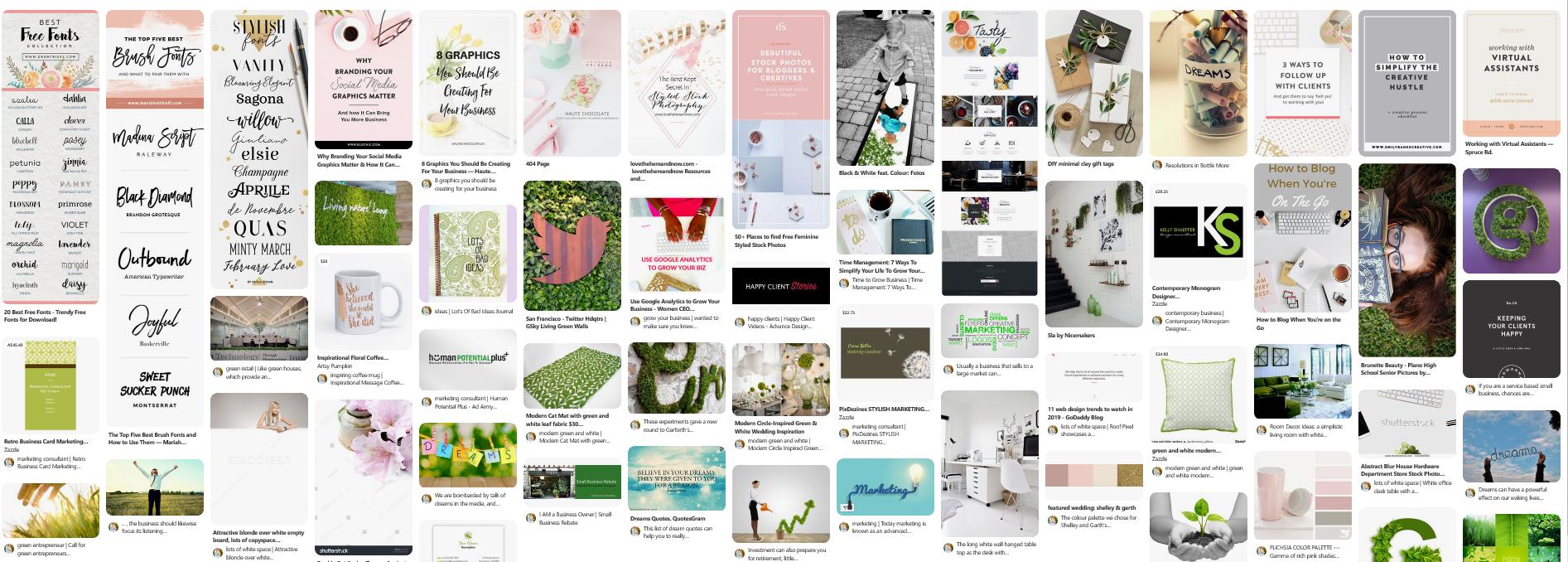 Website branding Pinterest Mood Board