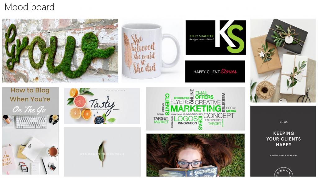 Website branding mood board